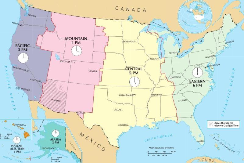 Carte des fuseaux horaires aux USA